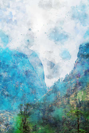 Mountains with sky and clouds background in blue shades, vertical image, winter season of nature illustration, digital watercolor painting Foto de archivo