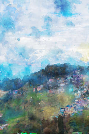 Village on mountains with sky and clouds, vertical image, winter season of nature illustration, digital watercolor painting Foto de archivo