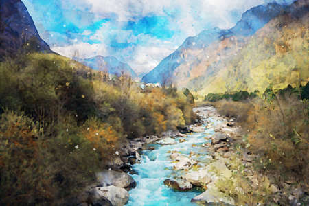 River with mountains at background, vertical image, nature illustration, digital watercolor painting