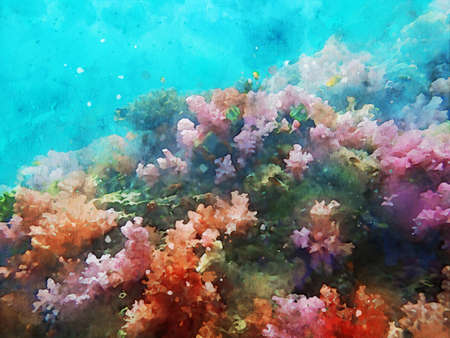 Abstract painting of marine life, underwater landscape image, colorful sea life, digital watercolor illustration, art for background