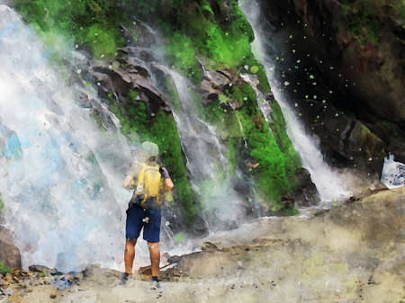 Digital painting of a man standing and looking at waterfall, watercolor texture on image Foto de archivo