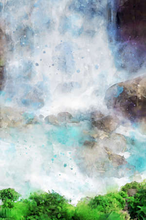 Digital painting of waterfall, watercolor texture on image, nature illustration