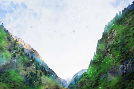 Digital painting of green mountain against blue sky, digital illustration, watercolor texture on image
