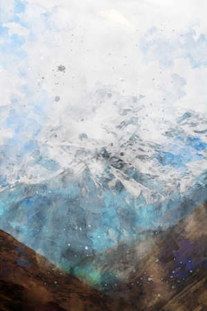 Mountain against blue sky in winter, digital watercolor painting, landscape image illustration Foto de archivo