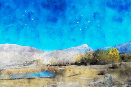 Mountain against blue sky in autumn, digital watercolor painting, landscape image illustration Foto de archivo