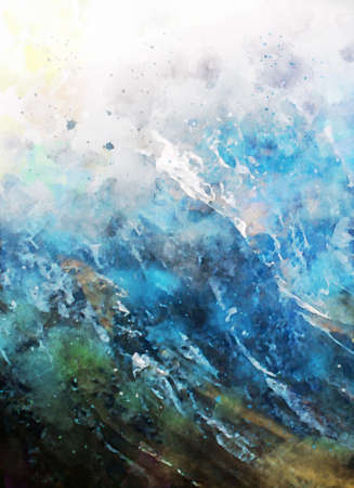 Digital painting of mountain in blue  shades, digital illustration, watercolor texture on image Foto de archivo