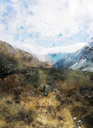 Digital painting of mountain in blue and brown shades, digital illustration, watercolor texture on image