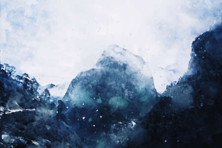 Abstract painting of mountain peak with covered snow against blue sky, digital illustration, watercolor texture on image