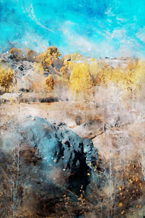 Digital painting of trees with yellow leaves in autumn season, landscape photography Foto de archivo