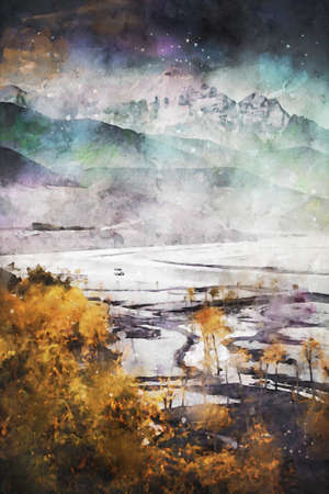 Digital painting of Mountain range and trees with yellow leaves in autumn season