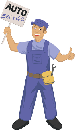 belt up: cartoon auto mechanic holding poseter with auto service whritten on it, an hold thumbs up as sign of qwalyty