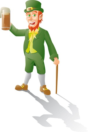 leprechaun makes a toast with beer and leans on a cane Illustration