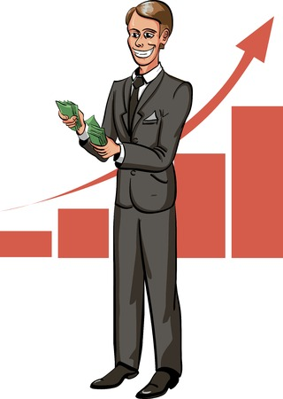 Cartoon businessman  count money with growth chart on background.