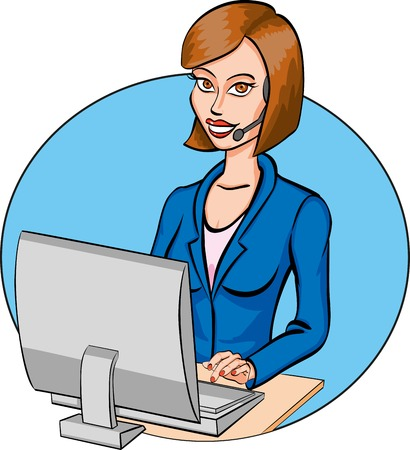 Cartoon beautiful call operator online. Vector illustration.