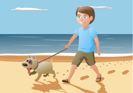 water s: boy and dog walking on the beach