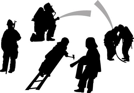 siluettes: firemen in action set.  Black vector siluettes