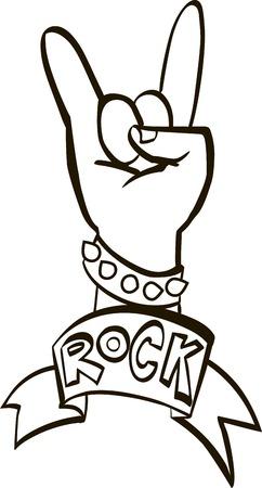 black and white: black and white hard rock graphic design , vector illustration Illustration