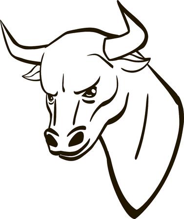 bullhead: black and white bull head vector illustration. bullhead logo. Illustration