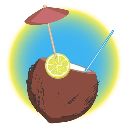 tropic coconut coctail with umbrella. vector illustration.