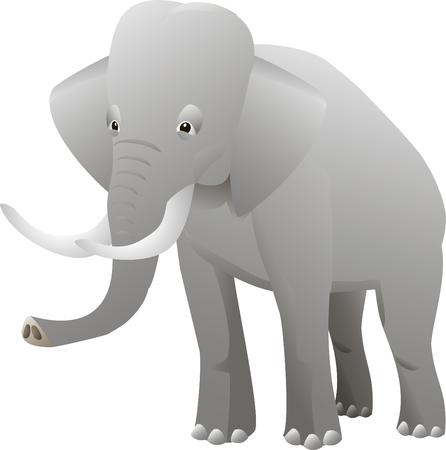 Isolated elephant on white background. Vector illustration
