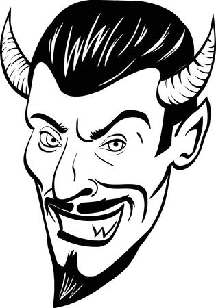 Black and white devil head. Vector illustration
