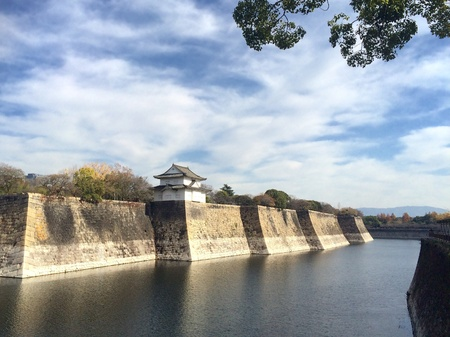 moat wall: The Moat and Castle Wall of Osaka, Japan Stock Photo