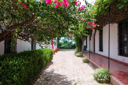 isidro: Garden entrance to Museo Biblioteca Archivo Jardin Tienda Cafe in San Isidro, Buenos Aires Editorial
