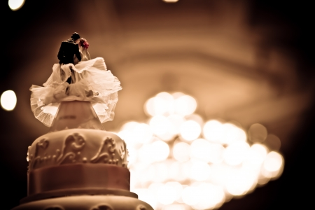 Vintage wedding cake with old style photo
