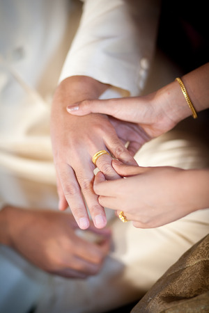 spousal: The bride wearing a wedding ring for her groom