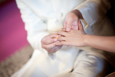 spousal: The Groom Put the Wedding Ring on bride