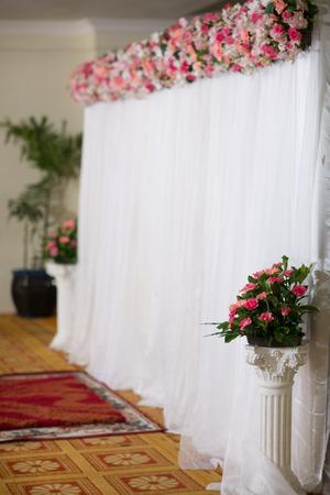 Beautiful flower wedding decoration, Side view Stock Photo