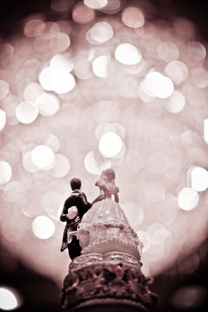 Top of Wedding Cake with dark bokeh