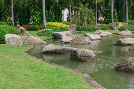 Beautiful green garden and River photo