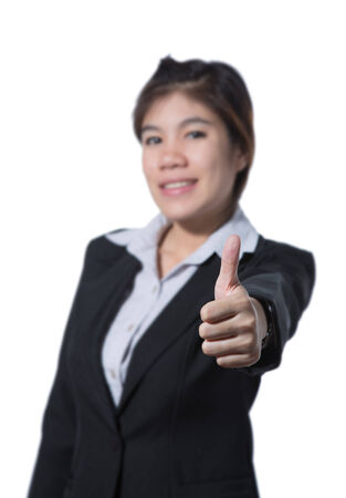 Young beautiful business woman showing thumb up hand, business concept of success, goodjob, approve, accept, agree and positive result, focus on hand