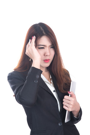 injured business woman with headache, migraine, stress photo