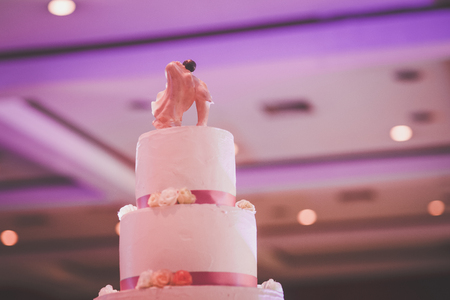 wedding ceremony: romance vingate cake for wedding celebration Stock Photo