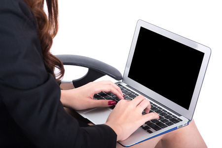 closer: closer up of business woman using laptoop Stock Photo