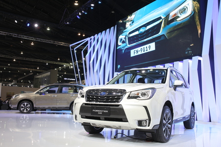forester: Bangkok - March 31 : Subaru Forester 2.0 XT on white car at The 37th Bangkok International Thailand Motor Show 2016 on March 26, 2016 in Bangkok, Thailand Editorial