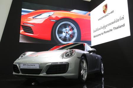 carrera: Bangkok - March 31 : Porsche 911 carrera on white car at The 37th Bangkok International Thailand Motor Show 2016 on March 31, 2016 in Bangkok, Thailand Editorial