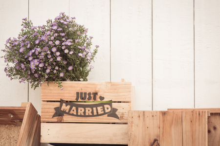 hand made: Just married sign on wood hand made for wedding decoration