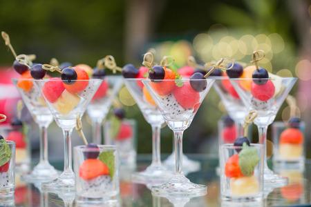 Cantaloupe: Slice mixed healthy fresh fruit with glass Stock Photo