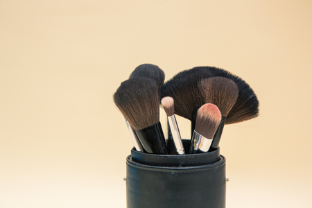 Make up cosmetics and brushes products on colorful background with copy space 版權商用圖片