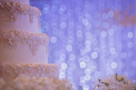 Beautiful vintage cake for wedding party with space for design
