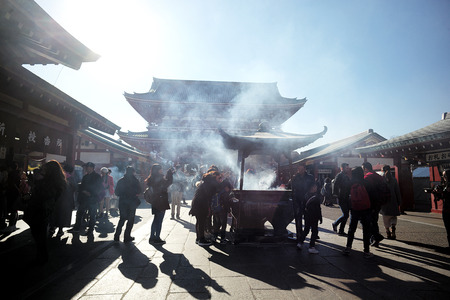 Buddhist Incense Stations, Sensoji Temple Buddhist temple located in Asakusa, Tokyo, Japan. It is Tokyos oldest temple, and one of its most significant. December 19, 2017 in Tokyo, Japan.