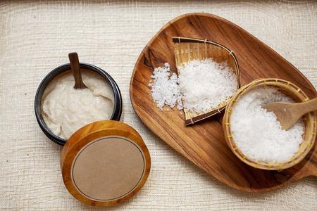 Spa Set. Handmade Salt Scrub And Cream Scrub With Coconut Oil. Thailand.