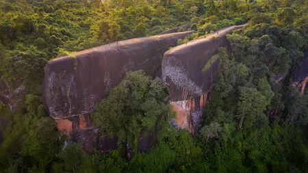 Three whale stones is Popular natural attractions in Thailand. Bird eye view shot of three whales rock in Phu Sing Country park in Bungkarn, Thailand.