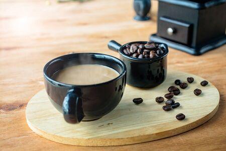 coffee coka concept. Moka coffee drip from steaming on the table. Coffee bean. Black coffee.