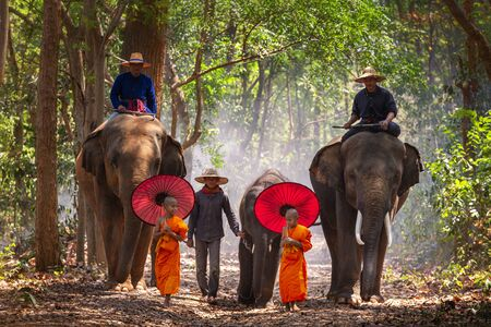 Elephant mahout portrait. Elephant Ritual Making or Wild Elephant Catching. The mahout and the elephant at surin, Thailand. Stockfoto - 131767634