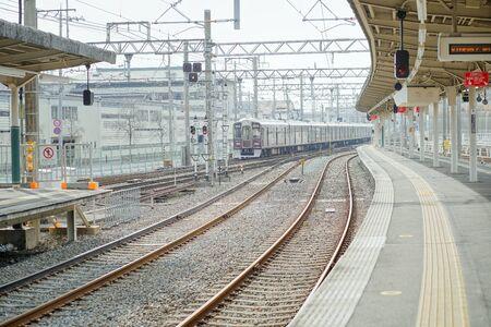 Train station at Arashiyama, a small, quiet, beautiful city in Japan, 30 Jan 2019