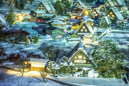 The landscape of Japan. Shirakawago twightlight. Historic Village of Shirakawago in winter. Gifu, Japan Stockfoto